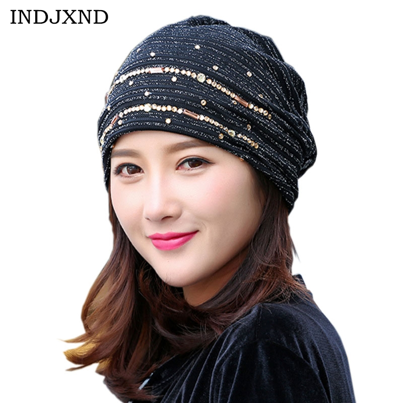 INDJXND Summer Mesh Section Lace Hot Drilling Cap 2018 Fashion Female Spring Hat Fashion Hats For Women   Skullies     Beanies   Caps