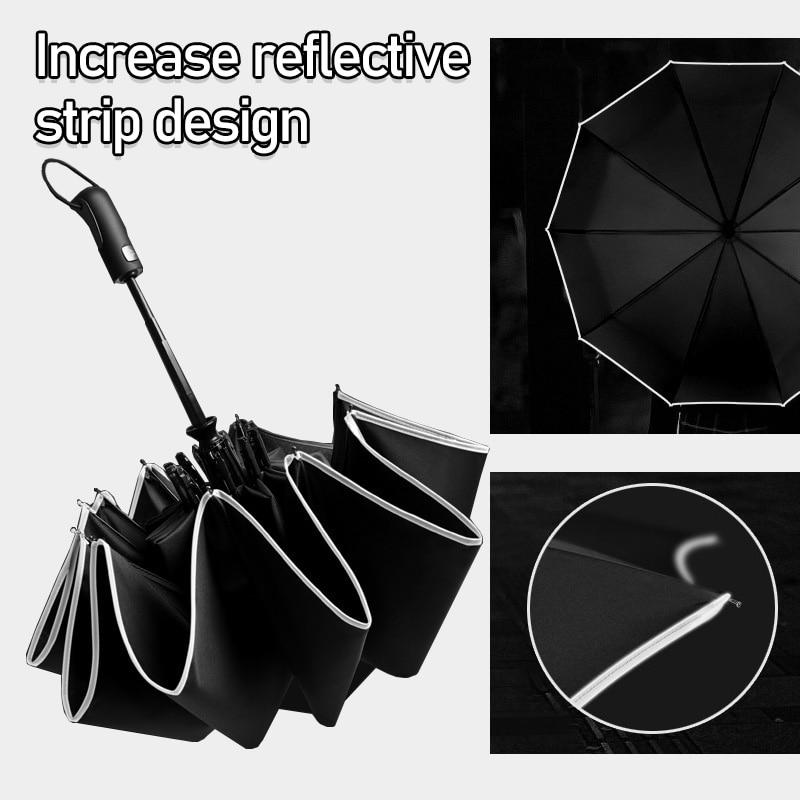 Wind Resistant Three Folding Automatic Umbrella Rain Women Auto Luxury Big Windproof Umbrellas Men Frame Windproof 10K Parasol-in Umbrellas from Home & Garden
