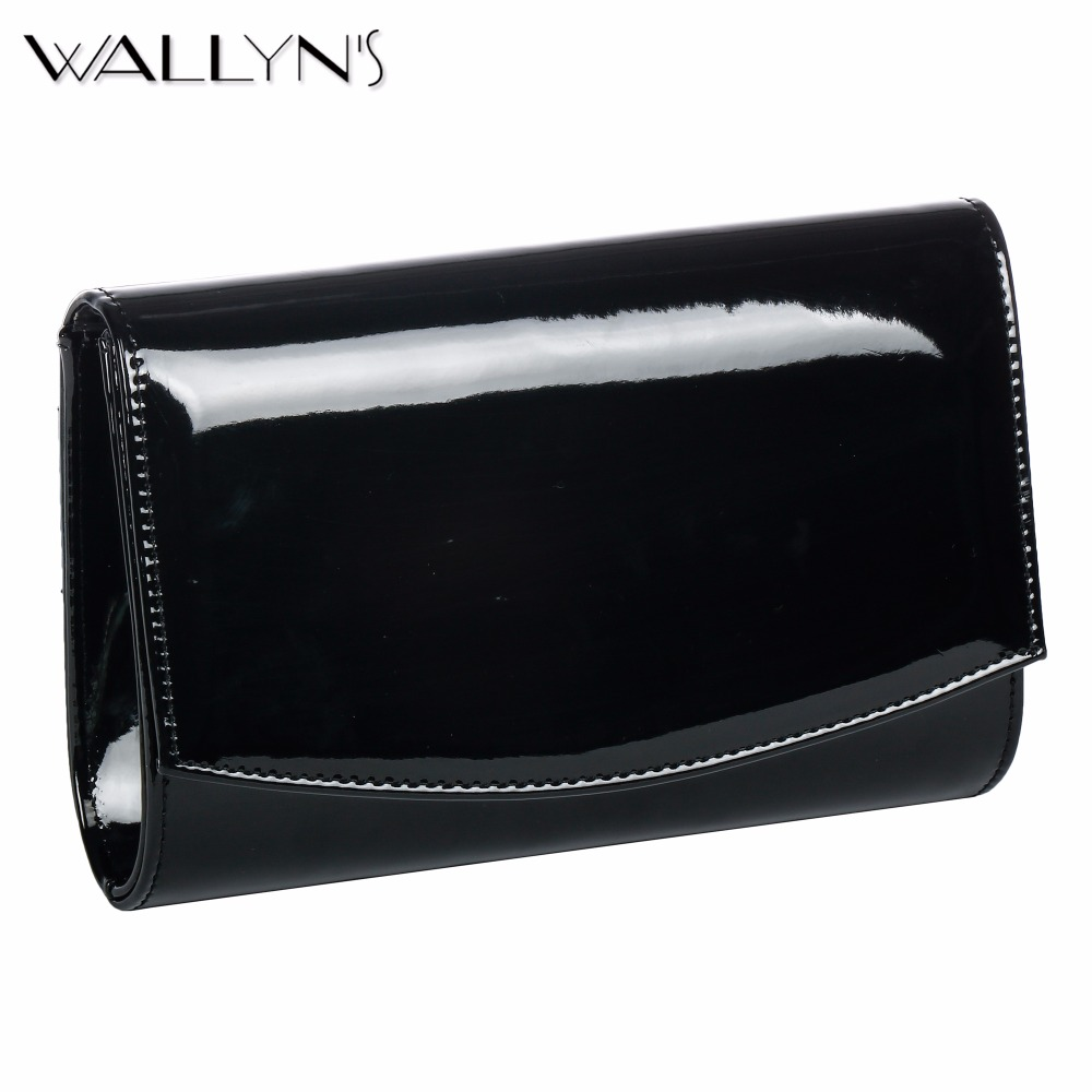 WALLYN'S Women Clutch Evening Bag Solid Color Messenger Bags Patent Leather Handbag Ladies Wedding Chain Shoulder Bag Bolsas Sac icarer brand new for ipad pro 9 7 inch case sleeve grey protective carrying bag pouch for ipad pro 9 7 inch case cover fundas
