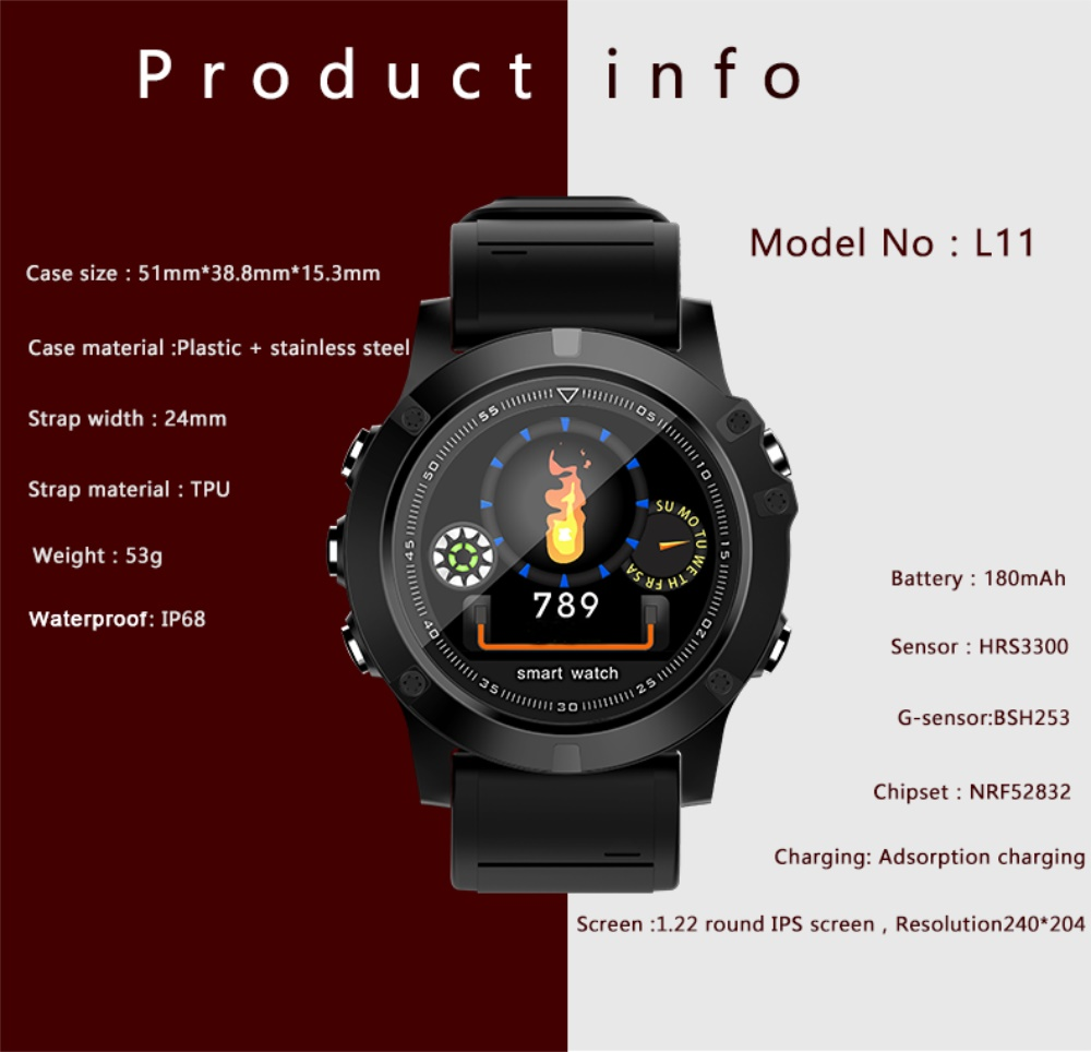 696 L11 Men Smart Bracelet Heart Rate Blood Pressure Fitness Tracker IP68 Waterproof Smart Watch for Android IOS smart phone 12