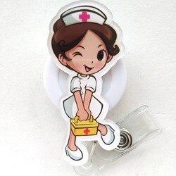 الكرتون قابل للسحب سحب شارة بكرة ID الحبل اسم بطاقة تعريف شارة حامل بكرات معاطف للأطباء والممرضات لوازم
