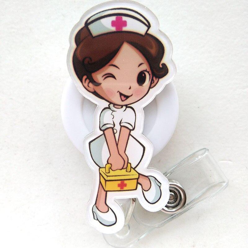 Cartoon Retractable Pull Badge Reel ID Lanyard Name Tag Card Badge Holder Reels Doctor Nurse Supplies