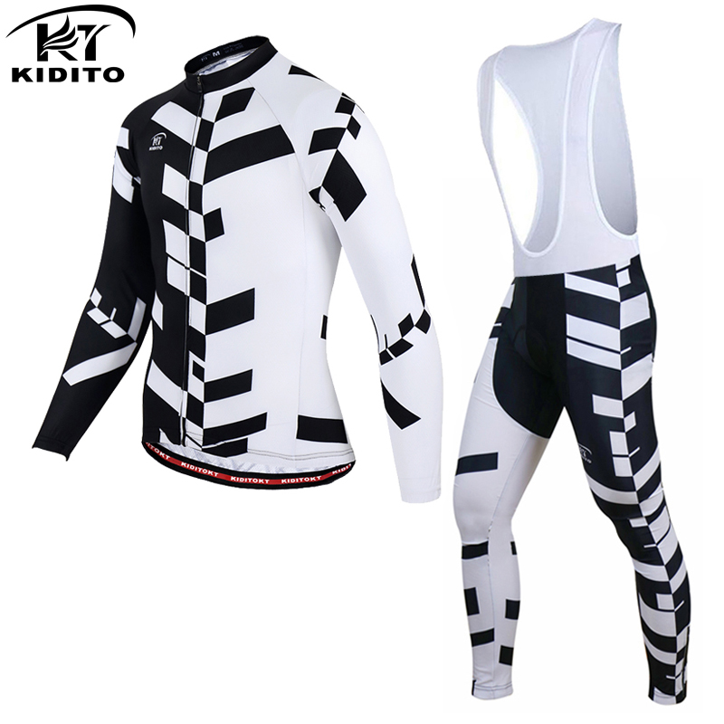 KIDITOKT 2018 Pro Spring Cycling Jersey Set MTB Bike Wear Clothes Breathable Long Sleeve Bicycle Clothing Ropa Maillot Ciclismo