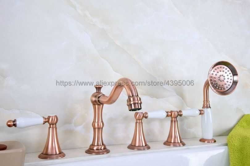Ванна кран Керамика ручка 5 отверстий широко ванна раковина смесители красный Медь ванной кран с Handshower Btf211