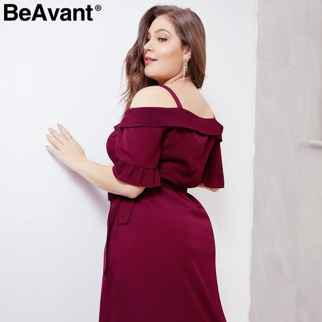 BeAvant Elegant cold shoulder plus size dress women V neck short sleeve summer dresses Casual wrap midi ladies dresses vestidos 1