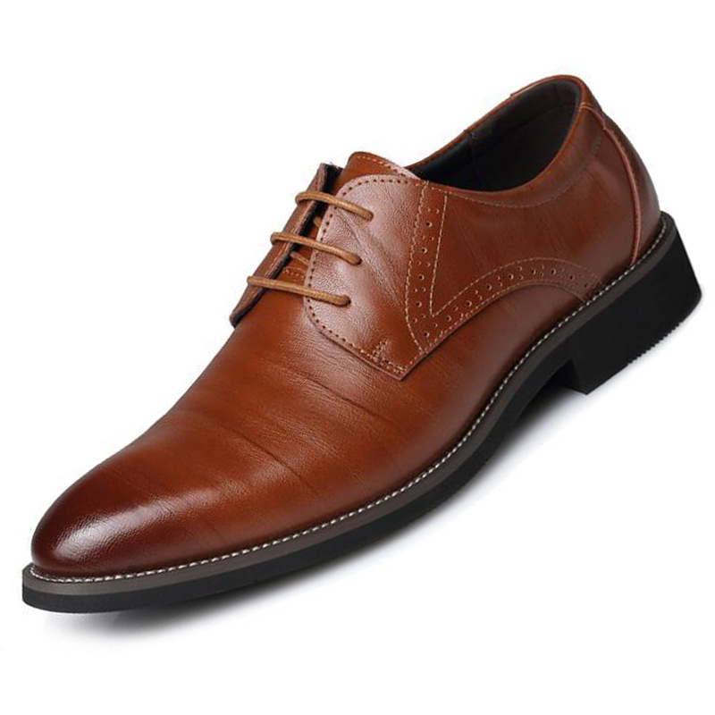 Genuine Cow Leather Brogue Wedding Business Mens Casual Flats Shoes Vintage Handmade Oxford Shoes For Men 2019 Black Burgundy(China)