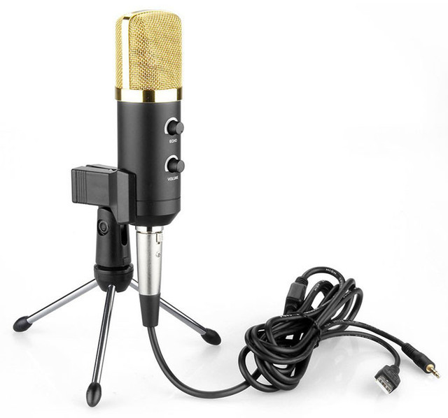 MK - F100TL USB Condenser Sound Recording Microphone with Stand for Radio Braodcasting Singing Skype Recording noise