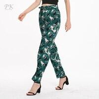PK palm print pants summer 2018 high waist holiday beach paper bag women pants viscose harem legging femme nature quality peg