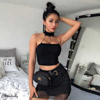 Women Sexy Metal Chain Tank Tops Female Halter Neck Chain Punk Backless Crop Vest Top Shirts Fashion Streetwear