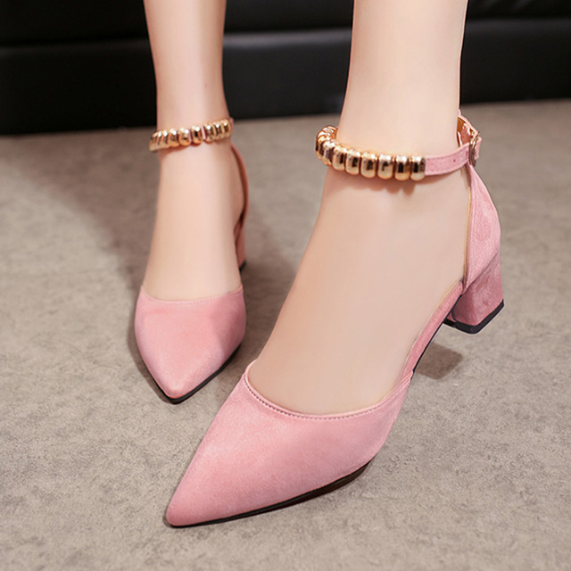 c7726e2e76f Spring Women Shoes Ankle Strap dress Shoes Medium Heels Pumps Square Heeled  Sandals Metal Buckle Ladies