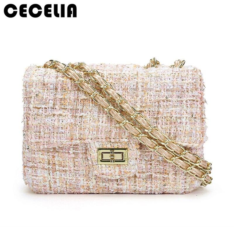 Cecelia 2017 Woman Big Bag Ladies Luxury Handbag Women Plaid Chain Flap Shoulder Bag Mini Quilted Handbag Black Bolsas Femininas mini gray shaggy deer pvc quilted chain bag with cover real picture