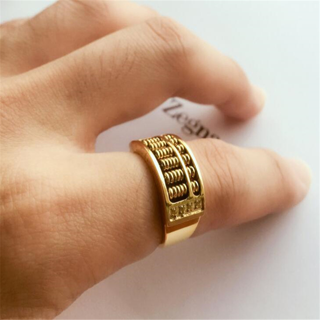 2018 New Jewelry Fashion Abacus gold Ring For Men Women High Quality Maths Number jewelry wholesale men ring Stainless steel
