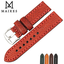 MAIKES Fashion Red Watch band 20mm 22mm 24mm 26mm For FOSSIL LUMINOX Leather Strap Watchband Accessories Bracelet