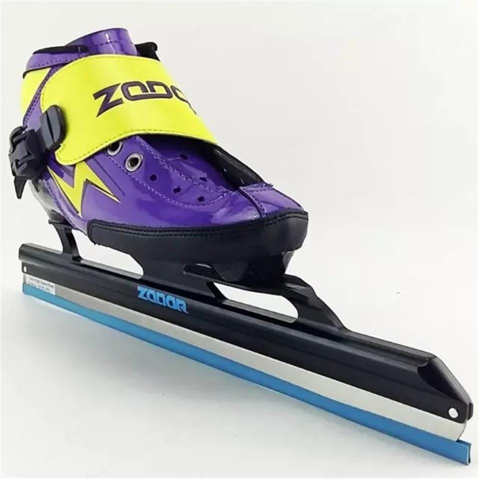 Japy 6 couches en Fiber de carbone vitesse lame de glace chaussures de patinage en métal fixer emplacement couteau course patin confortable Patines baskets J006