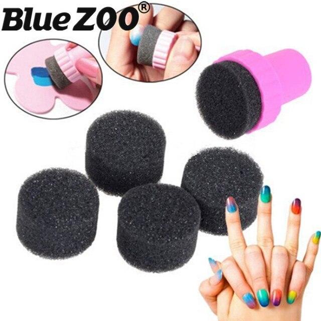 5pcs Magic Nail Art Sponge With Stamper Cap Manicure Tool Set