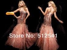 TOP Side Split Mermaid Prom Dresses 2015 Sweetheart Satin-organza Ruffle Rhinestone dress pageant yk-8K034 tie neck rhinestone embellished ruffle armhole top
