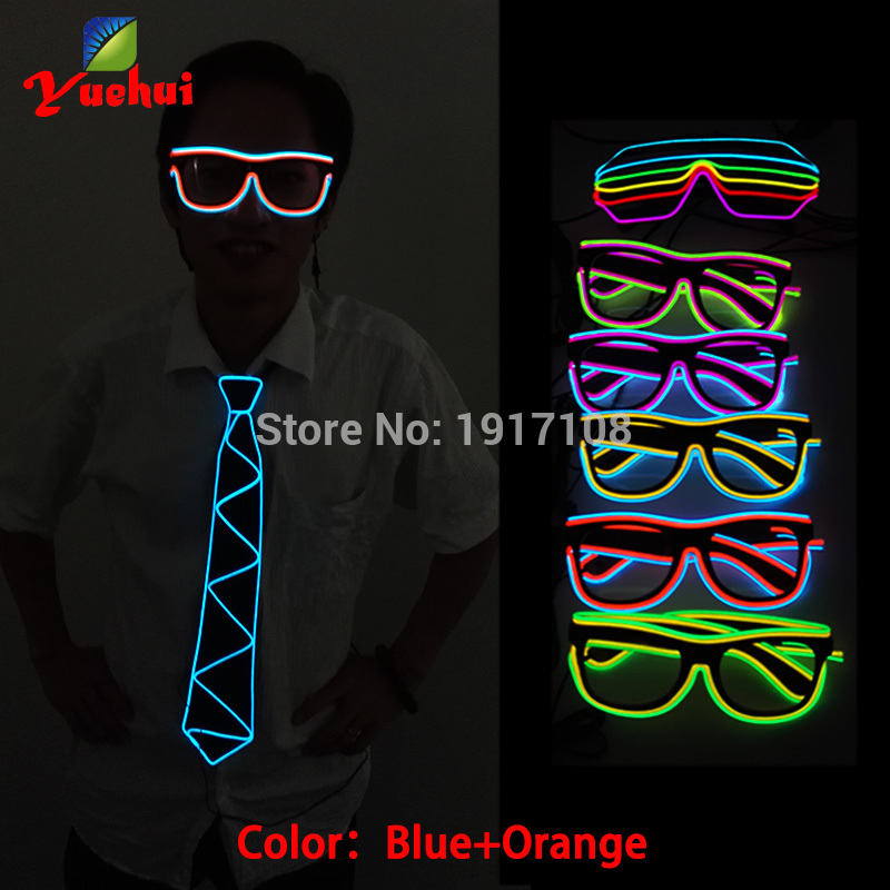 NEW Flashing EL Wire two Multicolor Glasses EL Wire Tube Rope Flexible Neon Cold Light Glasses LED Glasses with Party Decoration