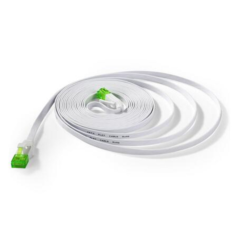 LBSC Cat6 Ethernet Cable 50ft Flat, cat Cable Slim Internet Patch Lan Wire Pure Copper with Green Snagless RJ45 Connectors-White ...