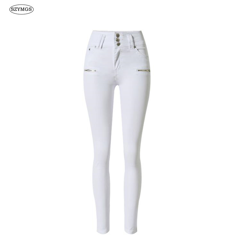 SZYMGS New Fashion Elastic Pencil Pants white jeans for women Skinny high waist jeans woman denim pants capris Jean pantalon leiji fashion blue s 6xl 2017 woman mid waist plus size women leggings high elastic skinny pencil jeans capris pants femme