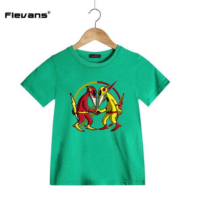 Garçons/Filles D'été De Mode T-shirts Le Flash de Dessin Animé Drôle D'impression T-shirt pour Enfants À Manches Courtes Pur Coton enfants Tops