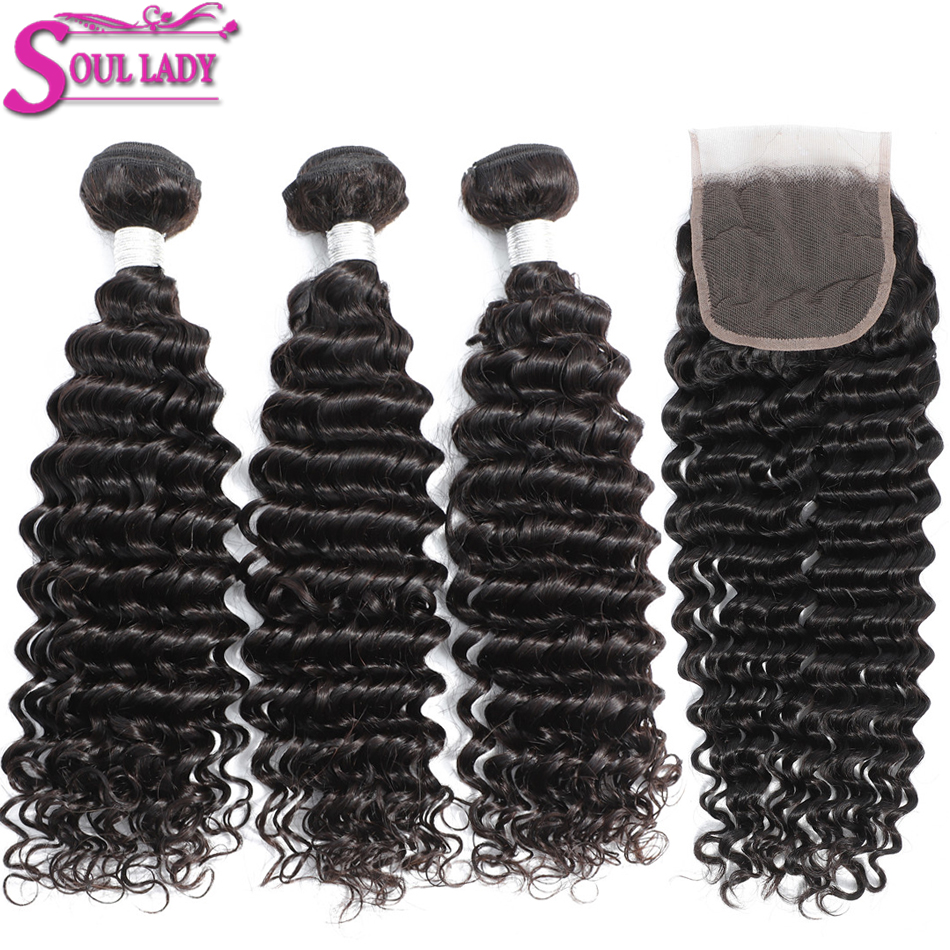 Soul Lady Hair Deep Wave Bundles With Closure Remy Brazilian DeepWave Hair Weave Bundles With Closure 100% Human Hair Extensions