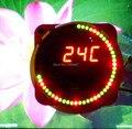 51 mcu rotating led electronic clock kit diy parts ds1302 clock 18b20 electronic kit