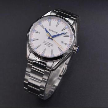 Reloj Corgeut 41mm para hombre, calendario impermeable mecánico automático, esfera blanca, cristal de zafiro, reloj para hombre, marca superior de lujo