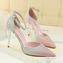 Classic high heel Pumps women shoes 2018 platform 10cm pink sexy  light-mouth pointed shiny f8a2c322d8e7