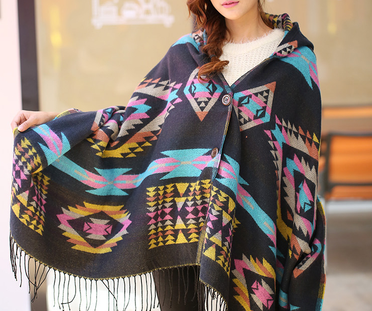 Autumn winter cardigan sweaters Tippet fashion oversized cardigans Tribal pattern sweater Female ponchos and capes coat