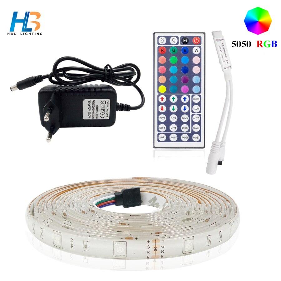 Ha condotto la striscia 5050 RGB diodo nastro 5 m 10 m 15 m del nastro di RGB led del nastro del led nonwaterproof nastro neon DC 12 v ha condotto la luce di striscia per la cucina di casa