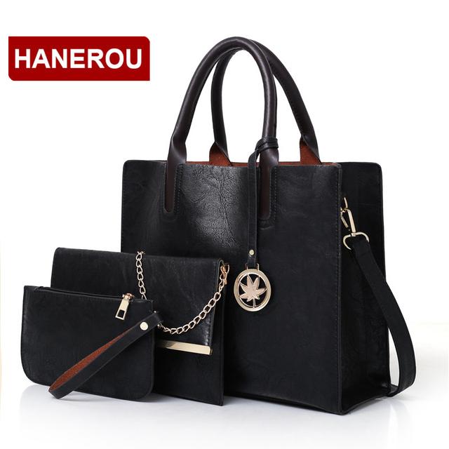 New Women Bags Set 3 Pcs Leather Handbag For Women Large Tote Bags