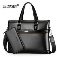 LEINASEN Simple Famous Brand Business Men Briefcase Bag Luxury Leather Laptop Bag Man Shoulder Bag Bolsa