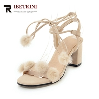 RIBETRINI 2018 Summer New Brand Plus Size 31 46 Ankle Wrap Sandals Women Fur Ball High Heels Concise Shoes Woman