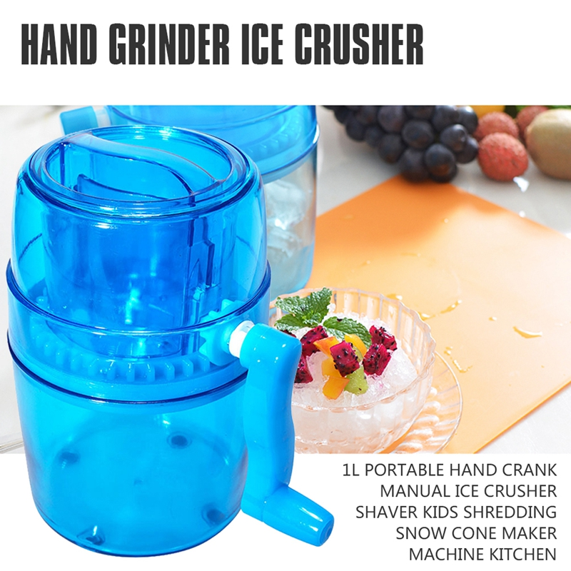1LPortable Hand Crank Manual Handle DIY Multifunction Portable Ice Crusher Shaver Kids Shredding Snow Cone Maker Machine Kitchen