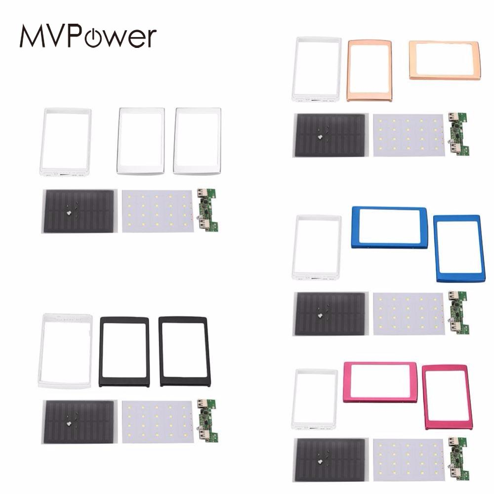 MVpower LED Dual USB Port Solar Panel Power Bank Case Battery Charger DIY Module Kit Outdoor Travelling Powerbank Solar Board