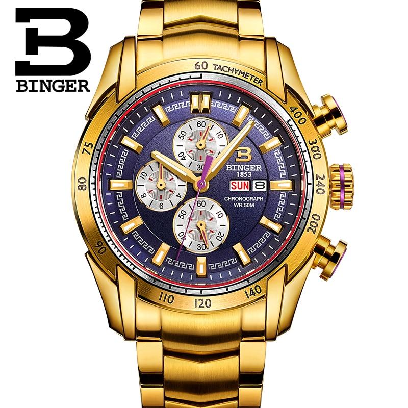 44 มม. สวิตเซอร์แลนด์ Chronograph กีฬานาฬิกานาฬิกา Swim 2018 นาฬิกาข้อมือควอตซ์กันน้ำ BINGER นาฬิกาผู้ชาย relogio masculino-ใน นาฬิกาควอตซ์ จาก นาฬิกาข้อมือ บน   3