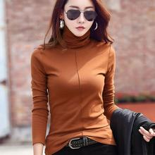 Autumn Women Solid Color Top Winter Female Skinny Soft Turtle Neck Basic Tops Pullover  Slim Long Sleeve T-shirts Casual Shirts stylish turtle neck half sleeve solid color women s jumper