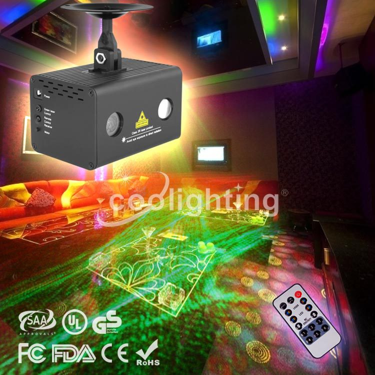 ФОТО Foreign direct explosion KTV full-color mini lamp remote red laser light green laser lights water bar