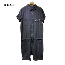 2017 Mens Jeans Bib Overalls Fashion Striped Black And Dark Blue Denim Work Overalls Men One Piece Denim Jumpsuit Short Trousers