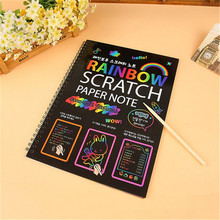 DIY Doodling Large Magic Color Rainbow Scratch Paper With Stick Creative Craft Children Educational Learn 19*26cm