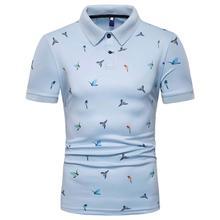 купить Men Polo Shirt Summer Tops Bird print Short-sleeved Lapel Collar Men's Clothing Tees Polo Shirt Men Casual Hip hop New дешево