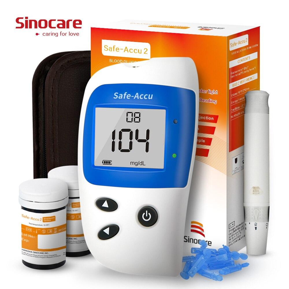 Sinocare Safe-Accu2 mg/dL mmol/L Sang Glucomètre Diabète Testeur Kit Glucomètre avec Bandelettes de Test Lancettes Sang sucre Moniteur