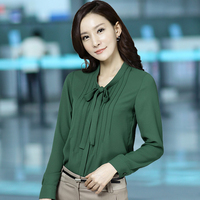Women Bow Blouses Green Chiffon Blouse 2017 Pleated Design Ladies Stand Collar Long Sleeves Office Lady