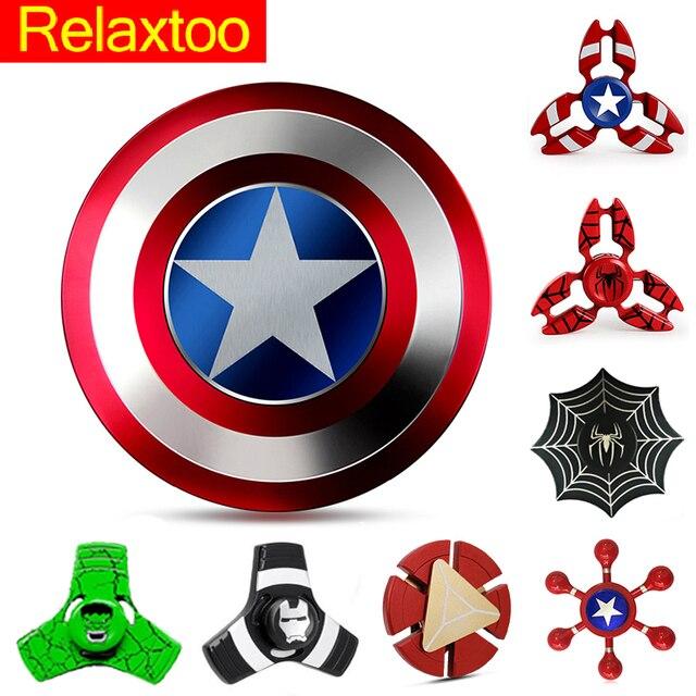 Captain America Spinner Metal Hand Fidget Spinners Super Hero EDC Figet Spiner Superman Batman Spiderman Iron Man Finger Toy