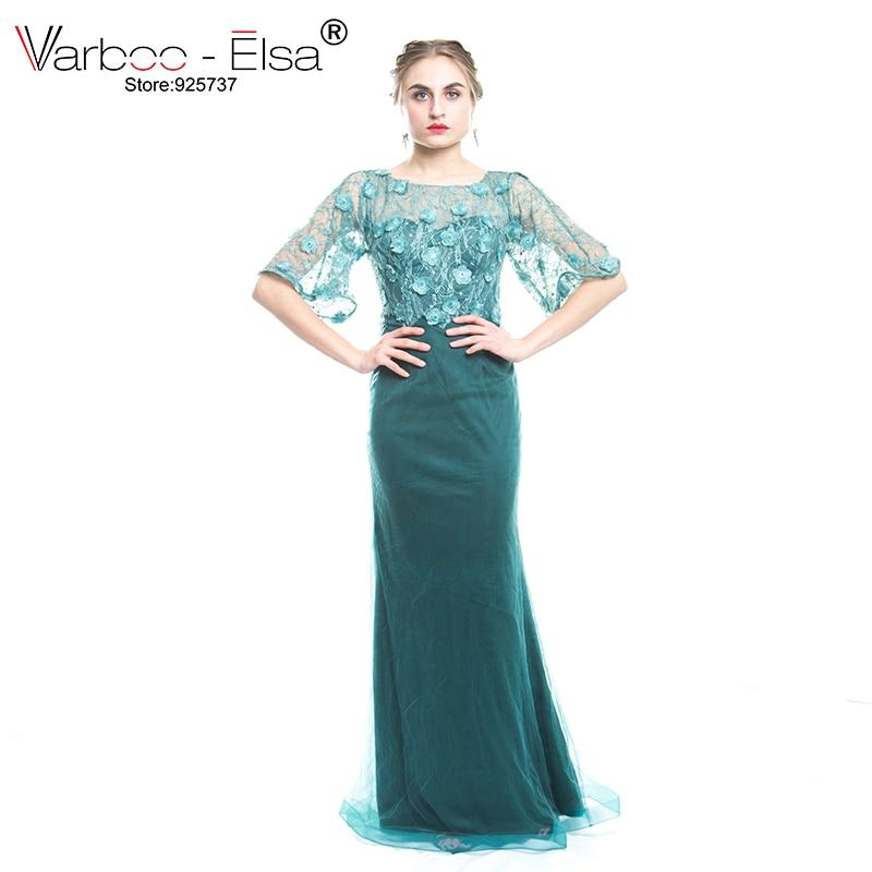VARBOO_ELSA Elegant Green Lace Prom Dress Mother of the Bride Dress Half Sleeve Mermaid Mothers Evening Dress vestidos de novia