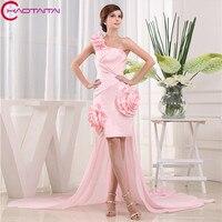 2018 пикантные розовые коктейльное платье пересечения одно плечо Короткие Коктейльные партии платья Мини Женщины Homecoming платья