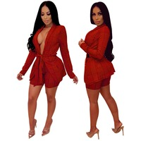 2019 Women Houndstooth Skirt Sets Europe Ladies Jacket+ Short Pants Suits Two Piece Womens Clothing Sets Sprin