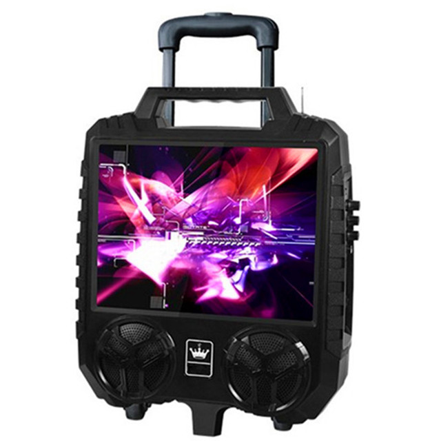 15inch HD big screen trolley speaker outdoor portable stereo Bluetooth audio FM radio TF U disk MP3 player karaoke video machine