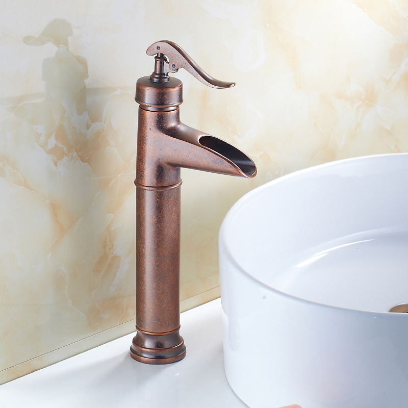 Antique ORB wash basin faucet mixer tap, Copper sink basin faucet red, Bathroom Oil Rubbed Bronze basin faucet hot and cold new arrival orb bronze wash basin faucet waterfall faucet bathroom sink tap cold and hot mixer tap basin mixer tap sink faucet
