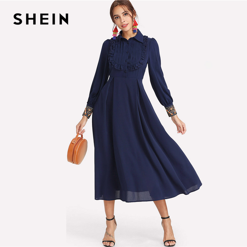 SHEIN Navy Elegant Embroidery Pleated Stand Collar Bishop Long Sleeve High Waist Maxi Dress Summer Women Weekend Casual Dresses